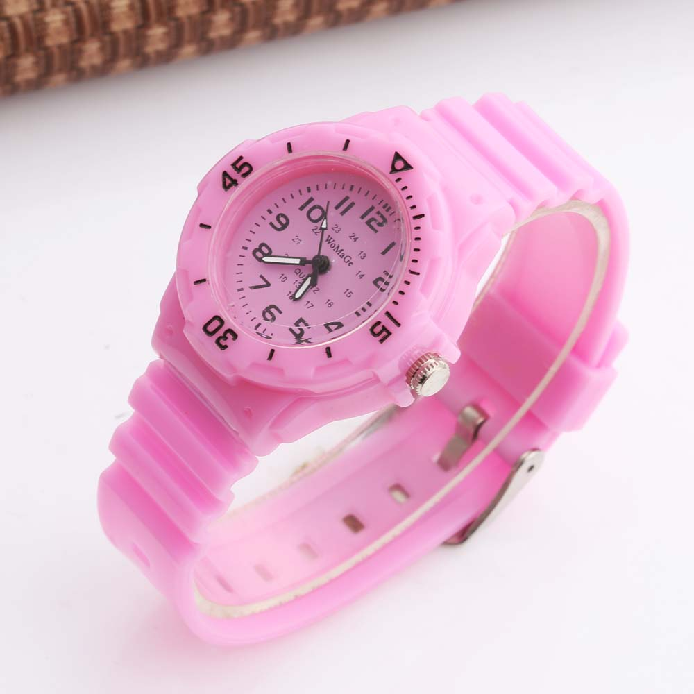 Cute Pink Kids Watches Boys Girls Fashion Casual Sports Analog Quartz Watches Children Watches Gift Montre Enfant WOMAGE
