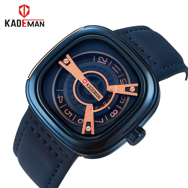 KADEMAN Army Military Mens Watches Luxury Brand Quartz Analog Clock Sports Leather Waterproof Wristwatch relogio masculino relogio masculino original curren wristwatches mens watches top brand luxury silicone sports watches military army waterproof