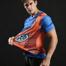 3D Dragon Ball Fitness Compression Round Neck T shirt