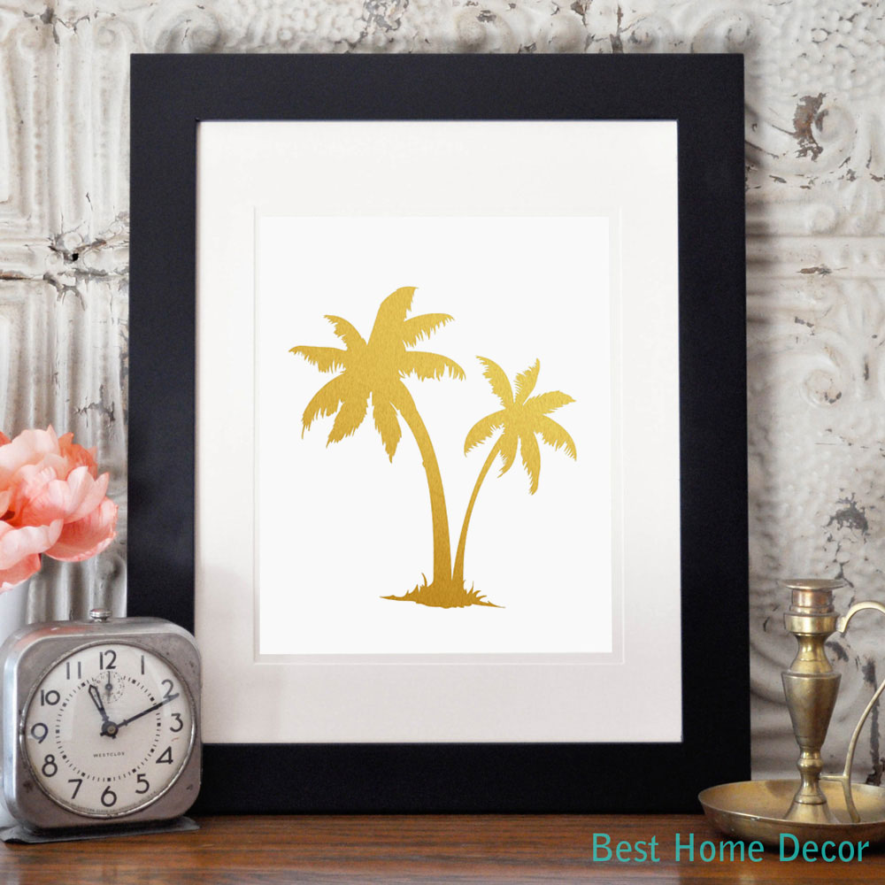 palm tree gold foil decor wall art print island tropical art metallic poster without frame ap027