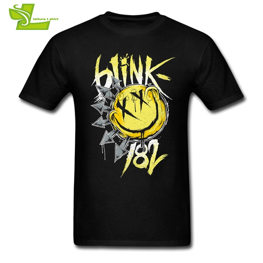 <font><b>Blink</b></font> <font><b>182</b></font> T <font><b>Shirt</b></font> Male Newest Simple Camisetas Home Wear Classic Loose T-<font><b>Shirt</b></font> Men Short Sleeve Crew Neck Team Dad Clothes image