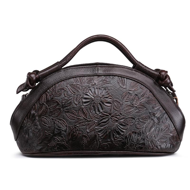 Brand Vintage Genuine Cow Leather Handbag Women's Shoulder Messenger Bag Flower Engraved Oil Waxed Style Design