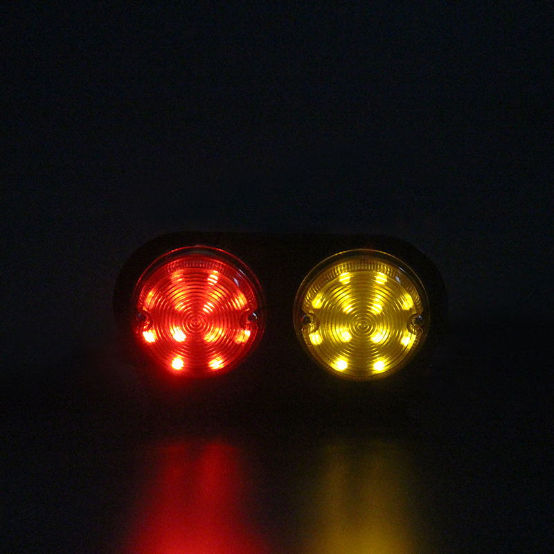 1Pair Bulls Eye Iron LED Tail Lamp Red Yellow Stop Turn Signal Lights for 12V Truck Trailer Lorry Van 18 5CM in Car Light Assembly from Automobiles Motorcycles