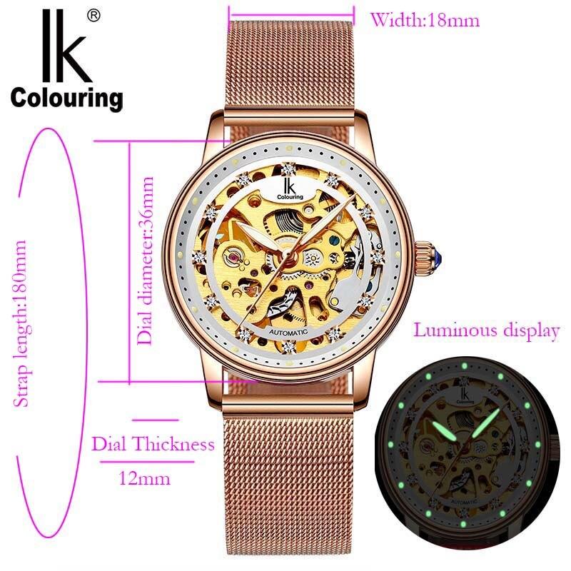 Femmes montre de luxe marque décontracté dames montre robe creux automatique mécanique montre horloge femme feminino reloj mujer - 2