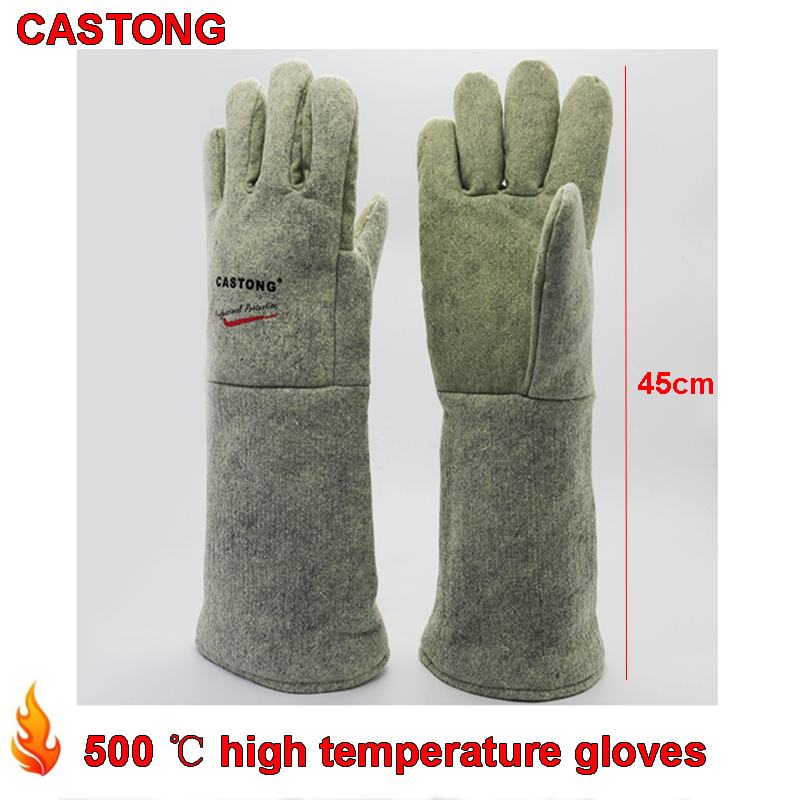 CASTONG 500 degree High temperature gloves 45cm High temperature protection fire gloves oven Baking Anti-scald safety glove