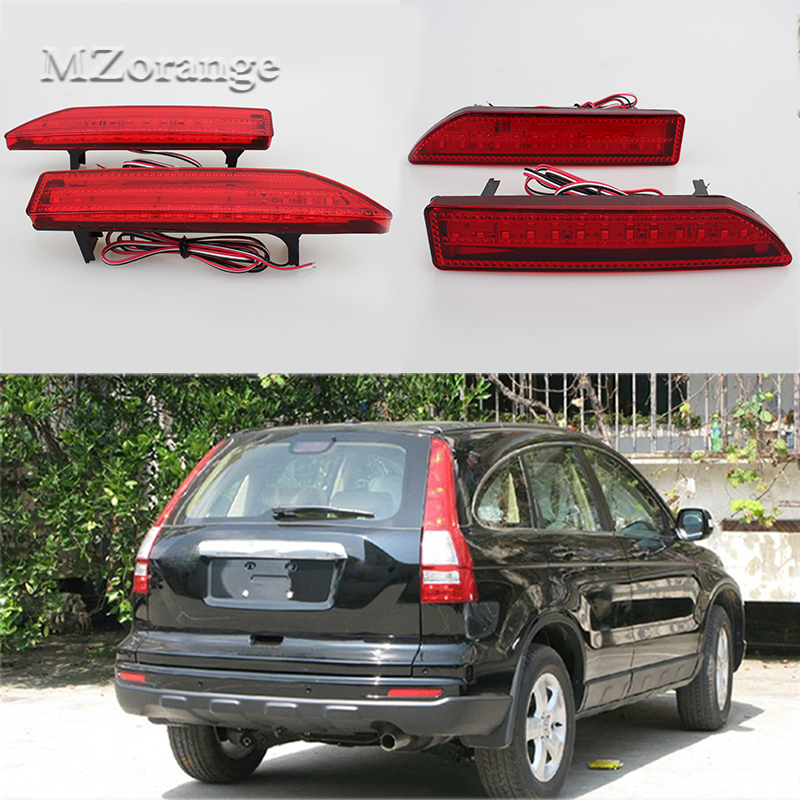 2Pcs Tail Rear Bumper Light LED Reflector Stop Brake Fog Lamp For Honda CRV 2007 2008 2009 rear fog lamp spare tire cover tail bumper light fit for mitsubishi pajero shogun v87 v93 v97 2007 2008 2009 2010 2011 2012 2015