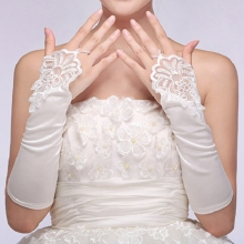 Women Fingerless Bridal Elbow Length Elegant Lace Gloves