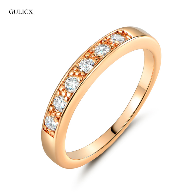 GULICX  New Gifts Simple Gold-color  0.1ct Round Simulated Crystal Circle Wedding Eternity Rings Bands Jewelry for Women R182