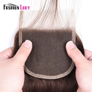 Image 5 - Fashion Lady Pre Colored Brazilian Hair Closure Straight Hair Lace Closure 4x4 inches #2 Brown Human Hair Lace Closures Non Remy