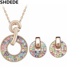 Мода ювелирных изделий колье серьги для женщин красочные из кристаллов сваровски ожерелья подвески 18 К розового золота