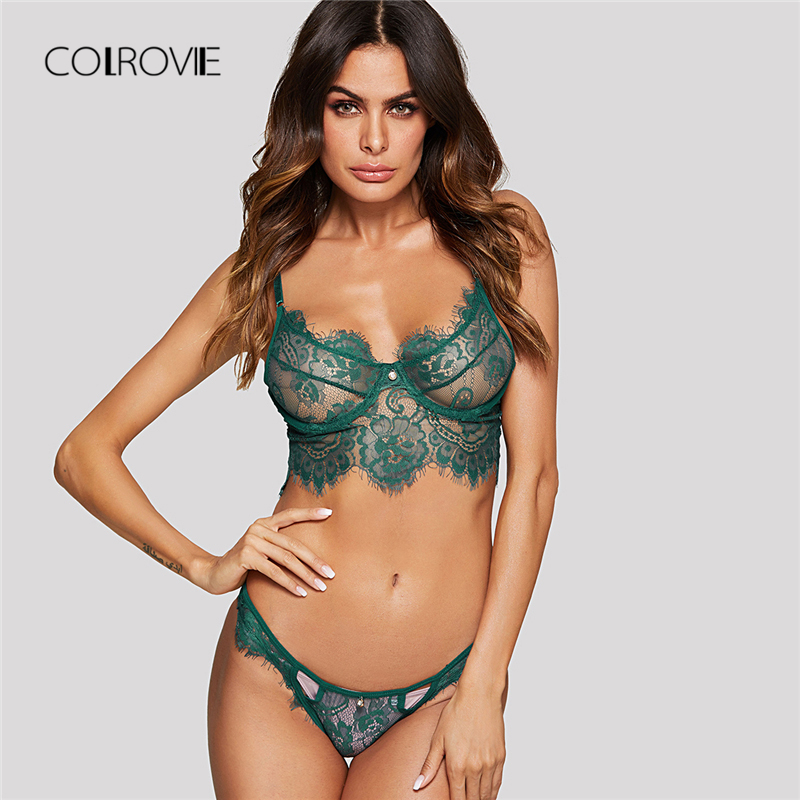 COLROVIE Green Wireless Eyelash Lace Floral Lingerie   Set   Women   Bra   And   Brief     Sets   Summer Transparent Sexy Underwear   Set