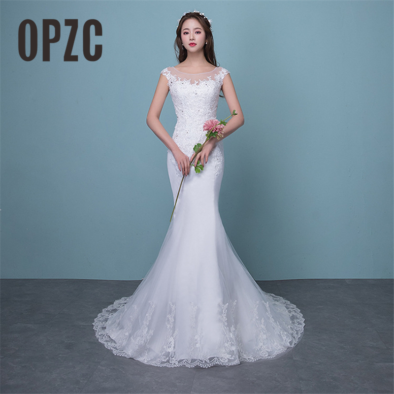 Illusion Sexy Mermaid Train Wedding Dress 2019 New Style Korean Lace Appliques Sequined Fishtail Bride Princess