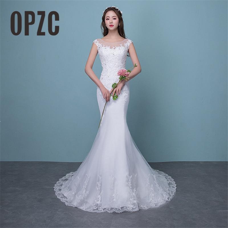 Illusion Sexy Mermaid Train Wedding Dress 2019 New Style Korean Lace Appliques Sequined Fishtail Bride Princess Estidos De Noiva
