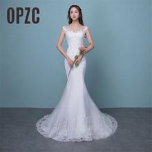 Illusion Sexy Mermaid Train Wedding Dress 2020 New Style Korean Lace Appliques Sequined Fishtail Bride Princess estidos de noiva