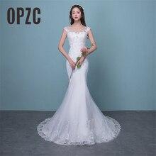 Illusion Sexy Mermaid Trein Wedding Dress 2020 Nieuwe Stijl Koreaanse Kant Applicaties Lovertjes Fishtail Bruid Prinses Estidos De Noiva