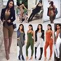 12 cores de Moda de Nova Verão Macacão Sexy Style Simples Deslizamento Cinta Sem Mangas Macacões Mulheres Bodycon Noite Clubwear Macacão 20