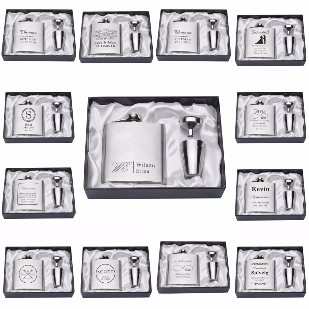 1 Set Personalized Engraved 6oz Silver Hip Flask Stainless Steel Wedding Birthday Hari Valentine Hadiah Cenderahati FL02