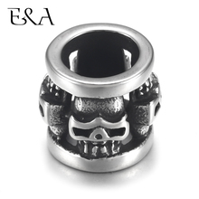 4pcs Stainless Steel Cylinder Bead Charm Skull 8mm Large Hole for Leather Jewelry Bracelet Making Metal Beads DIY Supplies Parts