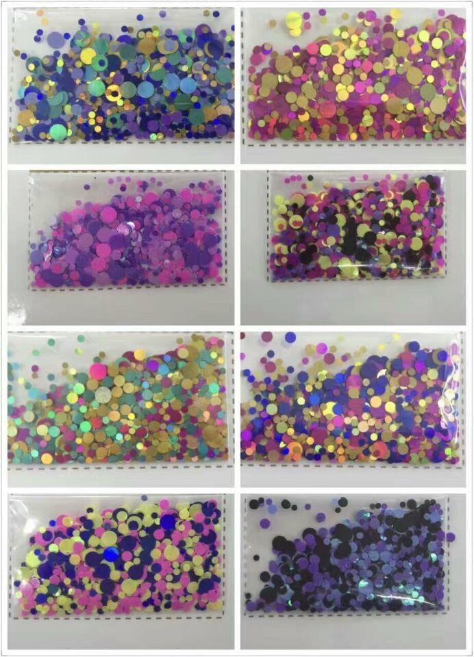 Niedrigsten Preis 500 Gramm/36.44euro-tasche Glitter Pulver Glitter Holographische Punkte Pailletten Handwerk Chunky1-3mm Holographische Neue * 100% Original