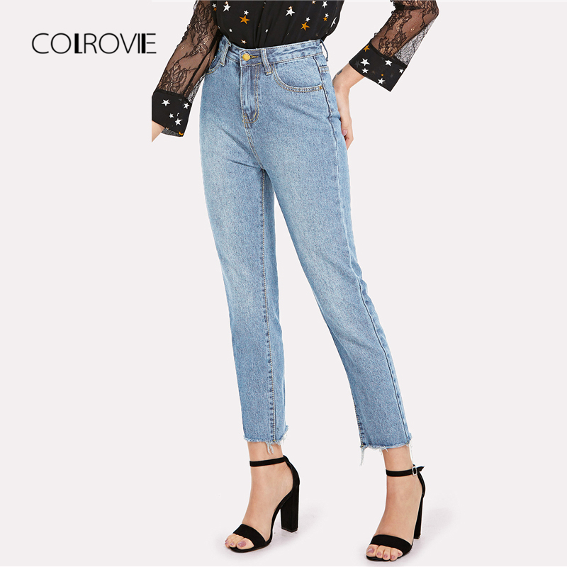 COLROVIE Blue Casual Solid Frayed Hem Denim   Jeans   2018 Autumn Ripped High Waist   Jeans   Female Pants Spring Boyfriend   Jeans