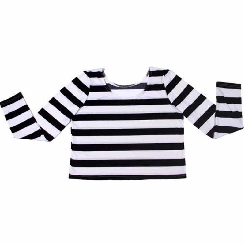 Восток Вязание X-083 Новый 2017 укороченный топ лето черный, белый цвет в полоску с длинным рукавом для женщин футболки Мода Размеры s m l xl