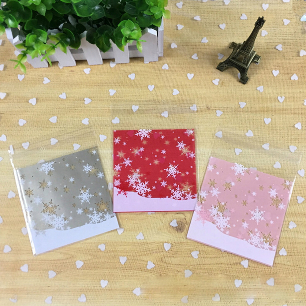 N2HAO 100pcs/lot Mixed style Merry Christmas plastic bags cookie packaging bag 10x10cm self adhesive bags ON SALE