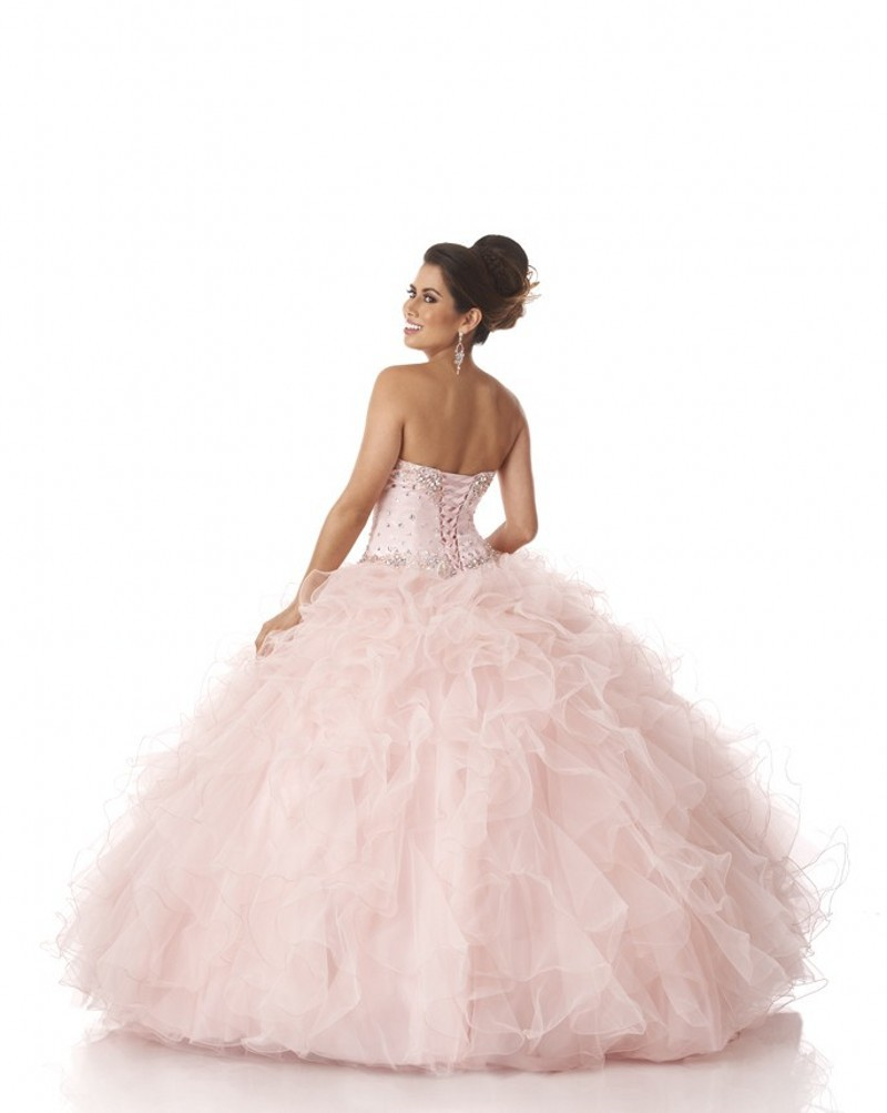 free shipping Hot Sale Sweetheart Beads Top Ruffled Ball Gown Light Pink Sweet 16 Vestidos De Quinceaneras 2019 bridesmaid dress in Bridesmaid Dresses from Weddings Events