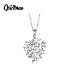 P80 Silver Plated Austrian Crystal Luxury Brand leavesNecklaces Pendants Fashion Jewelry for Women 2016