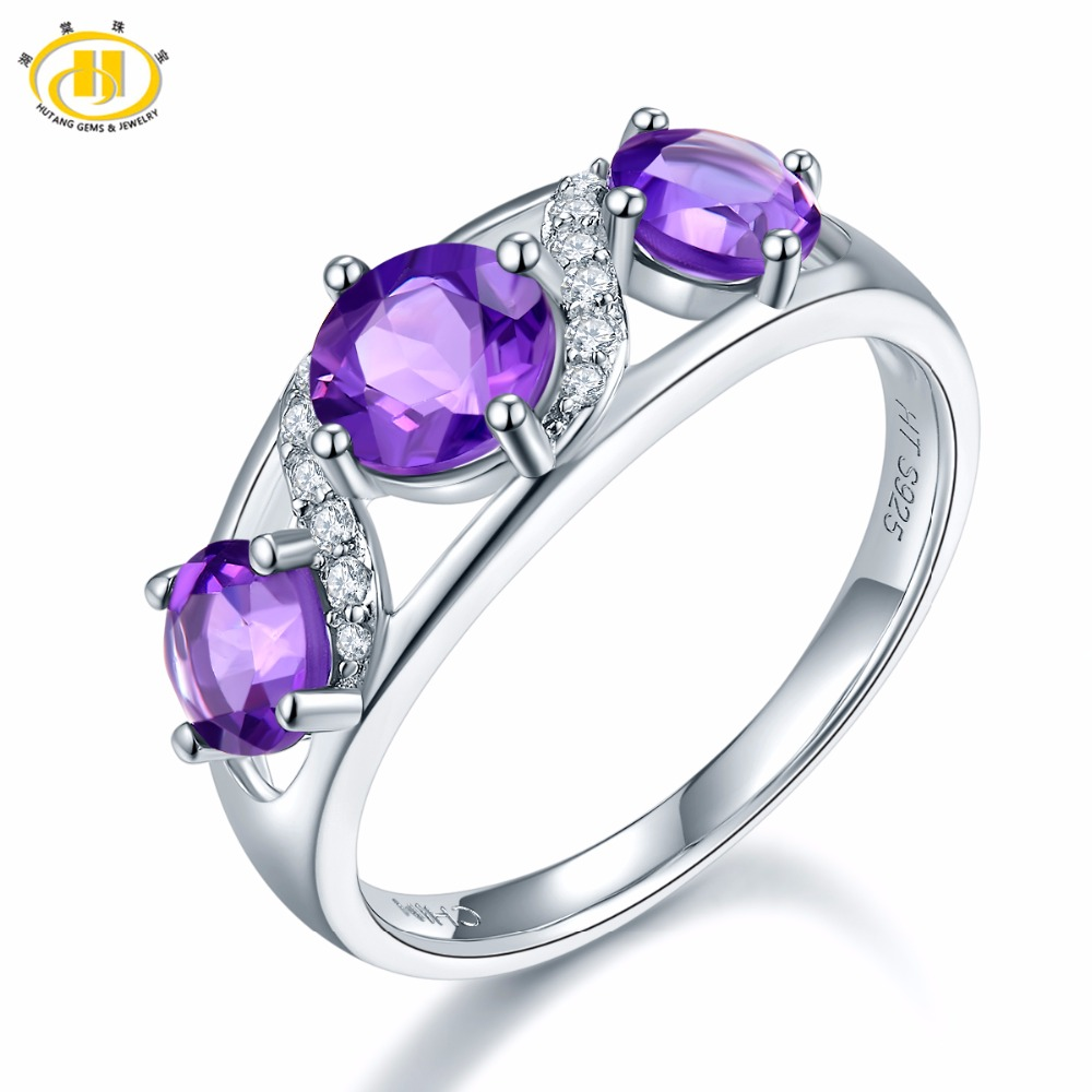 Hutang Engagement Ring 1.7ct Natural African Amethyst Solid 925 Sterling Silver Gemstone Fine Jewelry Best Gift For Women's Gift