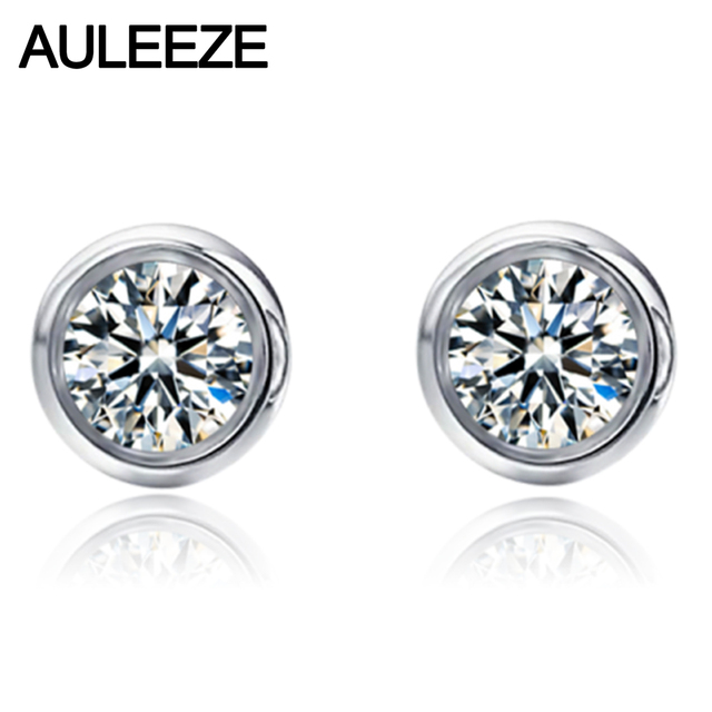 Clic Style Bezel Setting 9k White Gold Stud Earrings For Women 1ct Nscd Simulated Diamond