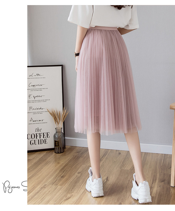 HTB1q9vnenZmx1VjSZFGq6yx2XXaQ - Tulle Skirts Womens Midi Pleated Skirt Black Pink Tulle Skirt Women Spring Summer Korean Elastic High Waist Mesh Tutu Skirt