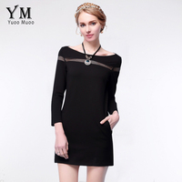 YuooMuoo 2016 New S 5XL Plus Size Women Black Dress High Quality Casual Spring Dress Sexy