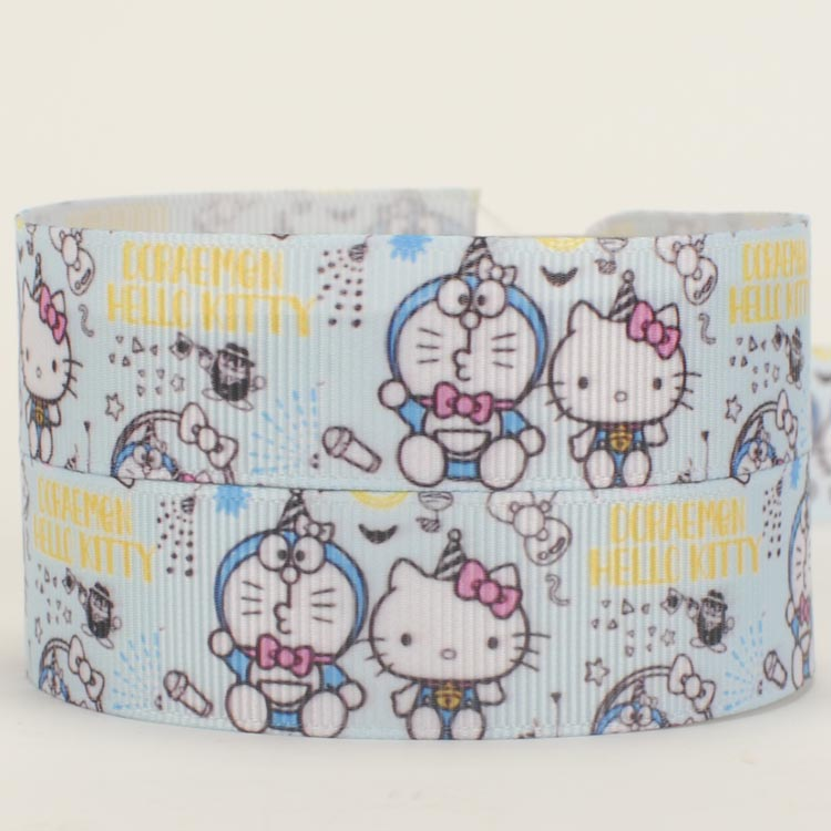 NEW sales 50 yards cute hello kitty and Doraemon printed grosgrain ribbon free shipping