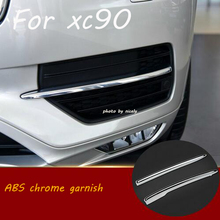ABS chrome front foglight fog light lamp frame trim cover exterior mouding Car Accessories for VOLVO XC90 2016
