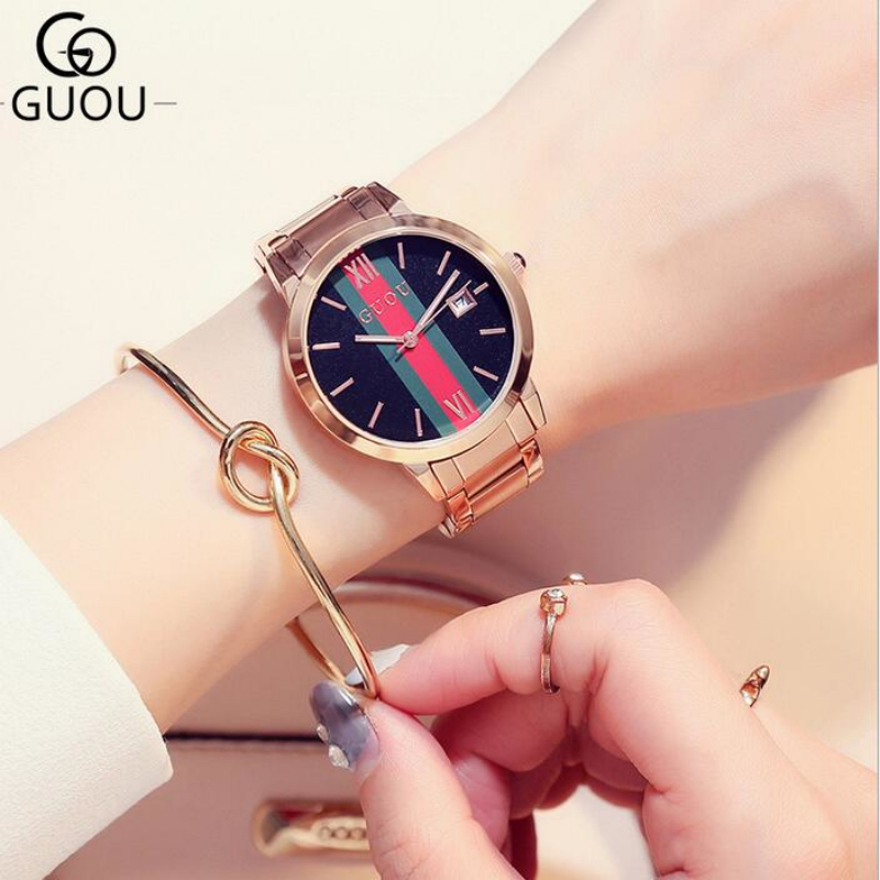 GUOU Top Brand Rose Gold Wrist watches Auto Date Watch Women Watches Stainless Steel Watch Clock Women saat relogio feminino guou watches classic vogue wrist watches women auto date ladies watch rose gold women s clock bayan kol saati quartz watch saat