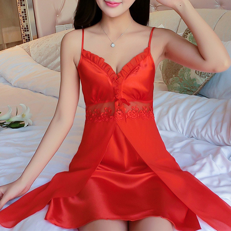 2018 New Baby Doll Sexy Lingerie Plus Size Lace Sleepwear Porn Dress Deep V Neck Hot -8700