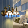 Mediterranean Tiffany Double Mermaid Glass Sconce Wall Lamps Wall Light Light E27 Bedside Wall Fixtures Home Decoration Lighting