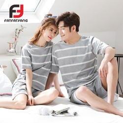 Мягкие Летние полосатый хлопок пара пижамные комплекты сна и брюки Для мужчин Для женщин домашняя одежда пижамы любителей Sleep & Lounge