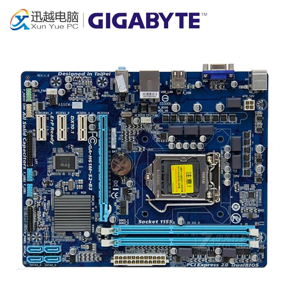 Gigabyte GA-H61M-S2-B3 Desktop Motherboard H61M-S2-B3 H61 LGA 1155 i3 i5 i7 DDR3 16G Micro-ATX original used gigabyte ga h61m ds2 desktop motherboard h61 for intel lga 1155 i3 i5 i7 ddr3 16g uatx uefi h61m ds2 mainboard