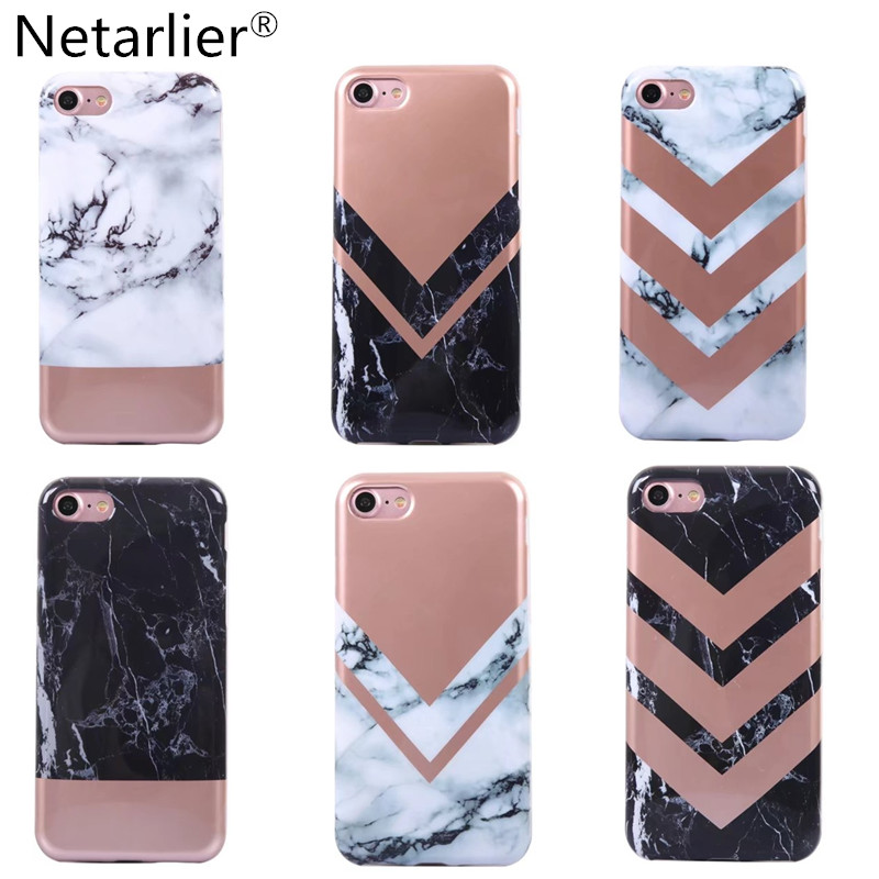 new styles b5c03 3ec98 US $5.99 |Netarlier Luxury Rose Gold Marble Design Phone Case For iPhone 6  6sPlus 7 7Plus High Quality Full Round TPU Soft Back Case Cover-in Fitted  ...
