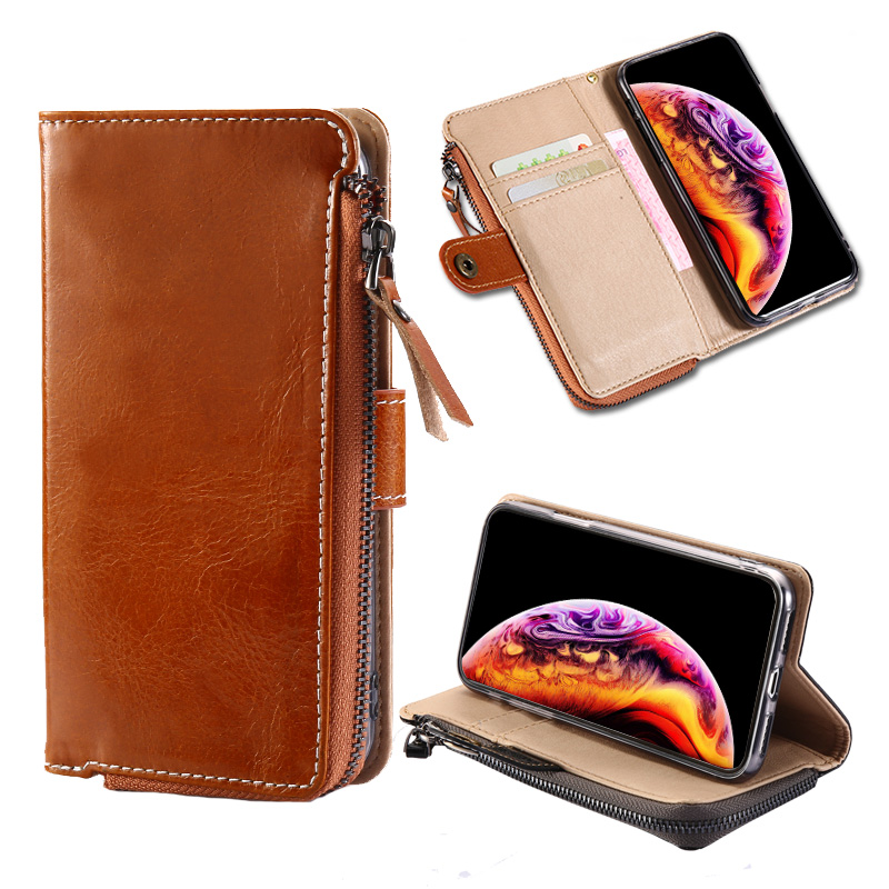 Leather business flip phone case for Samsung A50 A70 multi function anti drop luxury for Samsung S9 S8 case Bracket card packag