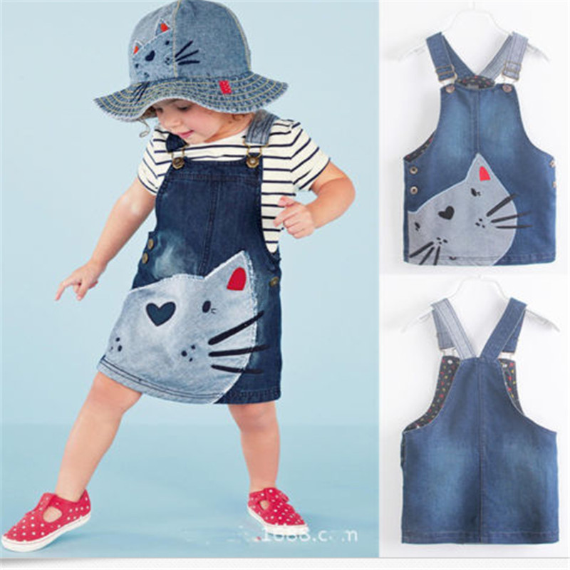 2017 Hot New dress 1 Piece Baby Girls Kids Cat dress Denim Overalls Dresses Braces Clothes For Age 2-7 Years