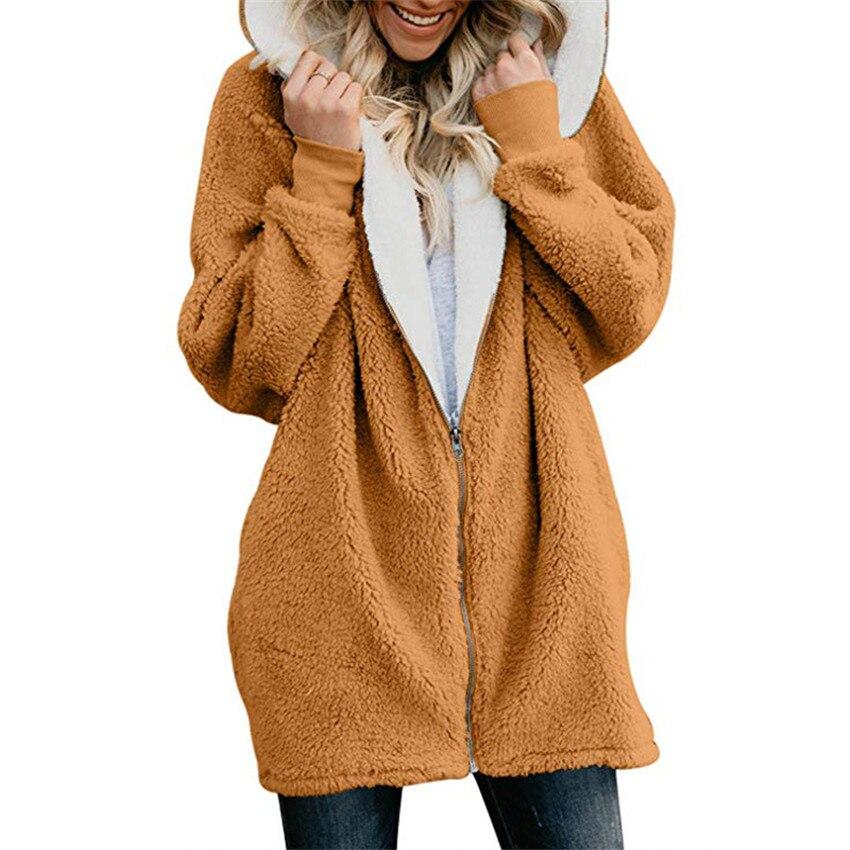 Casacos Casaco de Inverno Mulheres Casacos de Lã Das Senhoras das mulheres Quente Jumper Velo da Pele Do Falso Casaco com Capuz Outwear manteau Femme Plus Size 5XL