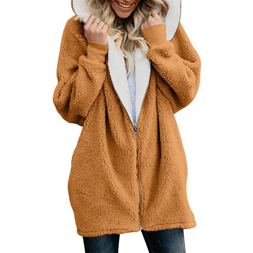 Honest Women Hooded V Neck Loose Pullover Fluffy Fur Coat Hoodies Jumper Jacket Hoodies & Sweatshirts