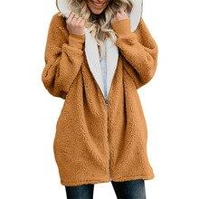 Женские куртки зимнее пальто женские кардиганы Женский Теплый джемпер флис искусственный мех пальто с капюшоном верхняя одежда манто Femme плюс размер 5XL