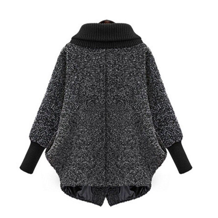 Manteau Solide Couleur Gray Vêtements Mode 5xl Lâche À Femmes Veste Longues Outwear Nouvelle Taille 2018 Hiver Plus Femme La Laine Manches fPqvxpwnR