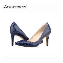 LOSLANDIFEN Faux Crocodile Shoes  Office Ladies Shoes High Heels Shoes Point Toe Women Pumps Sapatos Femininos Salto 952-1EY