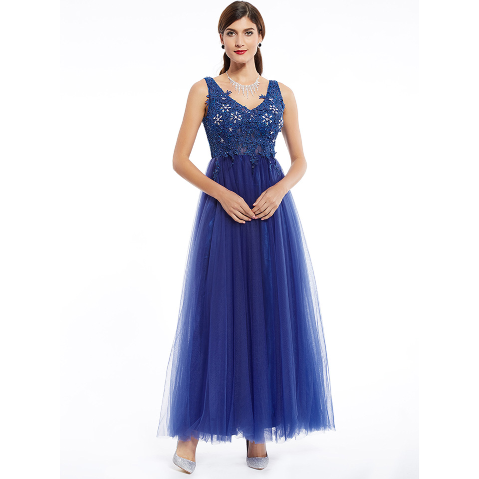 Dressv Dark Royal Blue Appliques V Neck Long Evening Dress Sleeveless Cheap Wedding Party Formal Dress A Line Evening Dresses