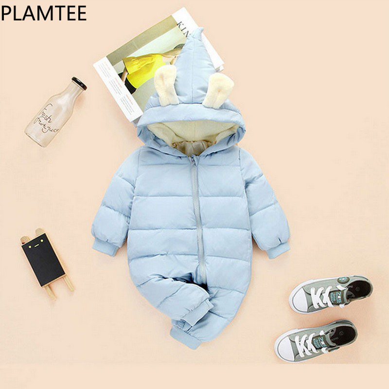 PLAMTEE Winter Pretty Animal Ear Baby Clothing Solid Color Warm Newborn Clothes Long Sleeves Zipper Roupa Infantil With Hat New