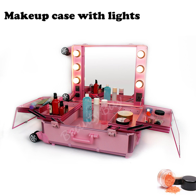 Us 104 0 Aluminum Frame Makeup Artist Beauty Case With Lights Without Legs Lighted Cosmetic Vanity Trolley Case In Cosmetic Bags Cases From